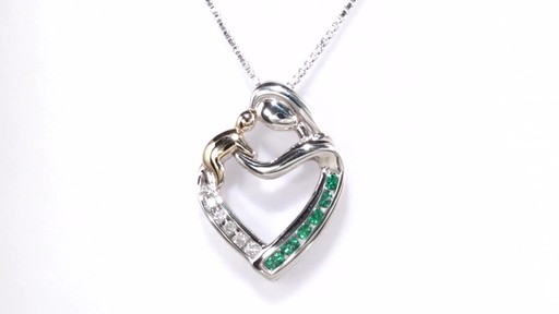 Zales 5.0mm Lab-Created Emerald and Diamond Accent Motherly Love Heart Pendant in 10K Gold jvNKPHWT9H