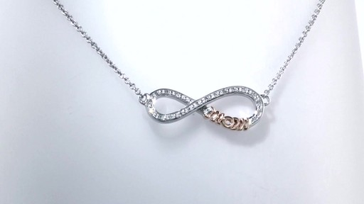 Zales Diamond Accent Sideways Infinity with Mom Necklace in Sterling Silver and 10K Gold Plate - 16 nUSWy