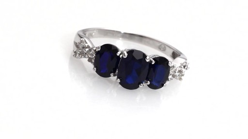 zales oval lab created blue and white sapphire three