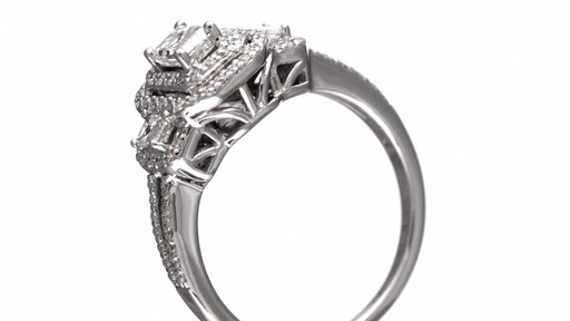 Emerald Cut Diamond Double Frame Past Present Future Ring