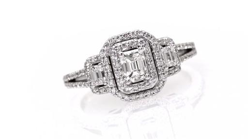 emerald cut frame past present future ring