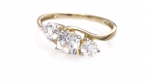 Zales Lab-Created White Sapphire Three Stone Bypass Engagement Ring in 10K Gold X4SGq