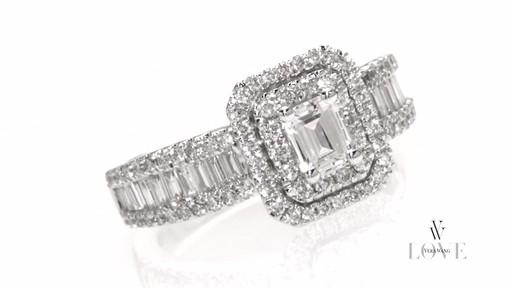 Emerald-Cut Diamond Double Frame Ring in 14K White Gold Vera Wang ...