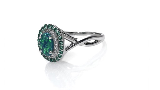 ZALES Simulated Oval Opal Lab Created Emerald and White Sapphire Frame Ring