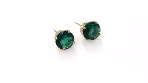 Diamond Stud Earrings in 10K Gold ZALES 7 0mm Lab Created Emerald and 1 6 S