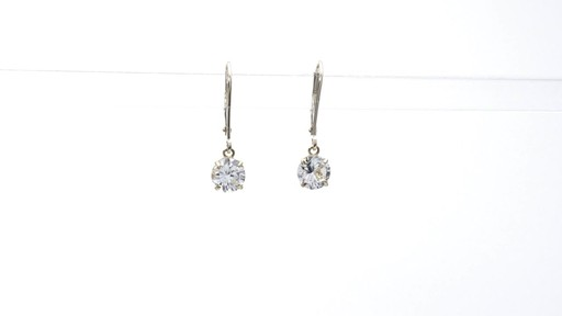 Lab-Created White Sapphire Solitaire Drop Earrings in 10K Gold 6.0mm - image 1 from the video