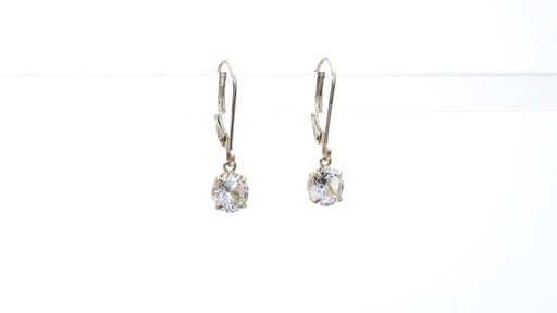 Lab-Created White Sapphire Solitaire Drop Earrings in 10K Gold 6.0mm - image 10 from the video