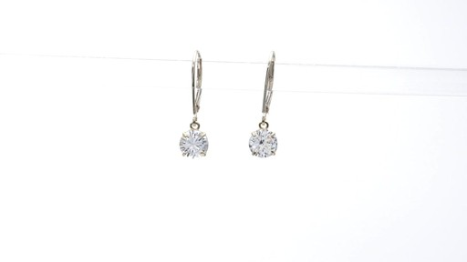 Lab-Created White Sapphire Solitaire Drop Earrings in 10K Gold 6.0mm - image 2 from the video