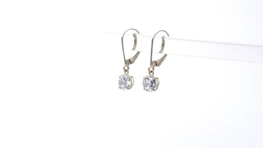 Lab-Created White Sapphire Solitaire Drop Earrings in 10K Gold 6.0mm - image 3 from the video
