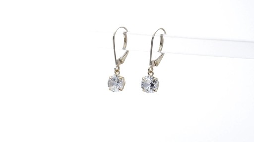Lab-Created White Sapphire Solitaire Drop Earrings in 10K Gold 6.0mm - image 4 from the video