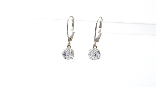 Lab-Created White Sapphire Solitaire Drop Earrings in 10K Gold 6.0mm - image 5 from the video
