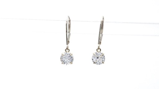 Lab-Created White Sapphire Solitaire Drop Earrings in 10K Gold 6.0mm - image 6 from the video