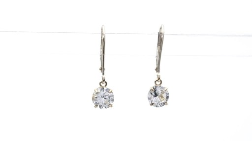 Lab-Created White Sapphire Solitaire Drop Earrings in 10K Gold 6.0mm - image 7 from the video