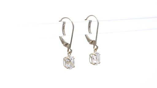 Lab-Created White Sapphire Solitaire Drop Earrings in 10K Gold 6.0mm - image 8 from the video