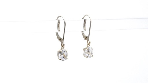 Lab-Created White Sapphire Solitaire Drop Earrings in 10K Gold 6.0mm - image 9 from the video