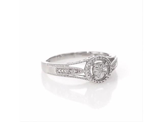 Diamond Accent Frame Vintage Style Split Shank Ring In