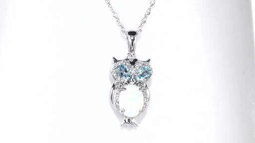Zales Cushion-Cut Lab-Created Opal and White Topaz Framed Pendant in Sterling Silver OYw1cW