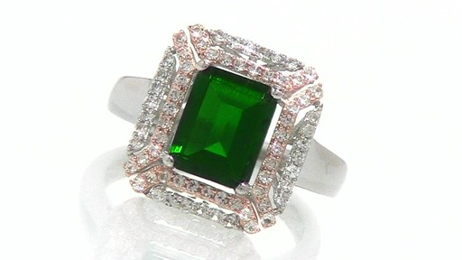 Emerald Cut Lab Created Emerald and White Sapphire Ring in Sterling Shop Za