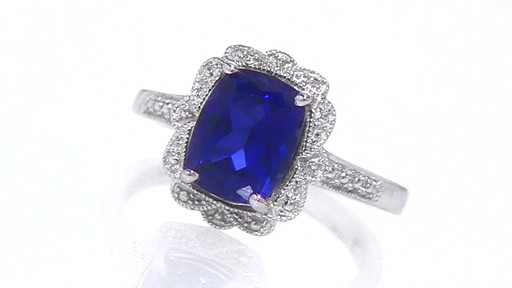 Cushion Cut Lab Created Sapphire Vintage Ring in Sterling Silver Shop Zal