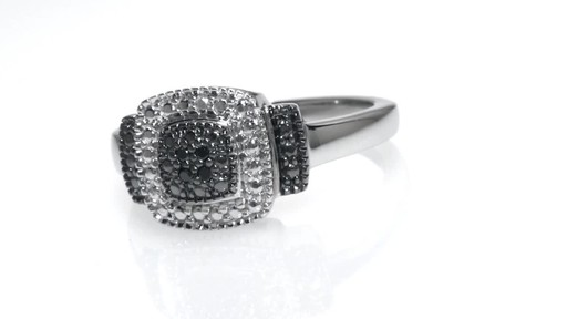 ZALES Enhanced Black Diamond Accent Beaded Square Frame Promise Ring in Sterl