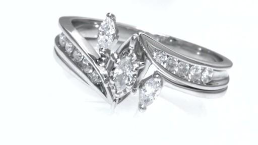Marquise Diamond Three Stone Slant Bridal Set In 10k White
