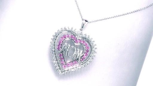 Lab Created Pink And White Sapphire Heart Shaped Quot Mom