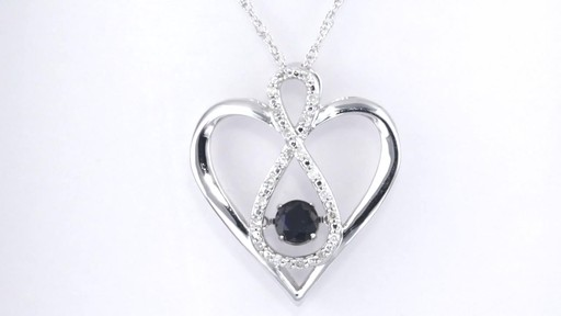 30477bc518de75 Lab-Created Blue and White Sapphire Heart with Infinity Pendant in Sterling  Silver, Women's