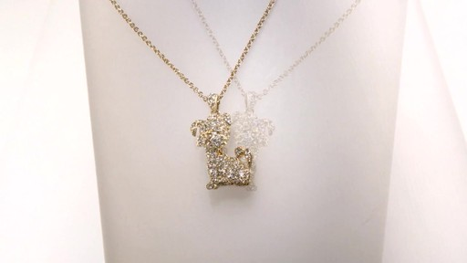 Ava Nadri Crystal Dog Pendant In Brass With 18k Gold Plate