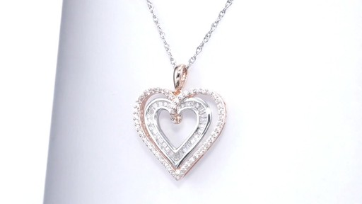 Zales 5.0mm Lab-Created White Sapphire Double Drop Pendant in Sterling Silver and 10K Rose Gold ds1f0l7