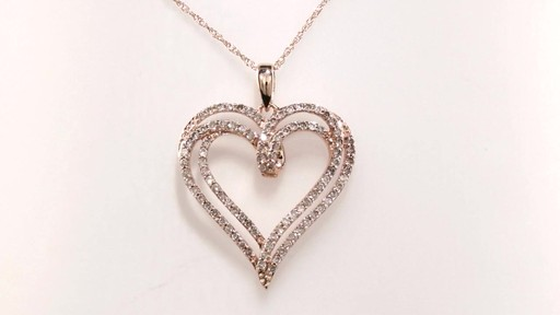Diamond Double Row Heart Pendant In 10k Rose Gold 1 2 Ct
