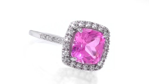 Lab Created Pink And White Sapphire Ring In 10k White Gold