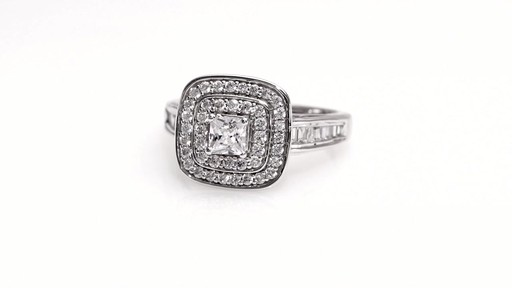 Princess Cut Diamond Double Frame Engagement Ring in 14K White Gold Women& 3