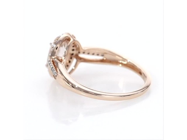Oval Morganite And 1 8 Ct T W Diamond Frame Open Shank