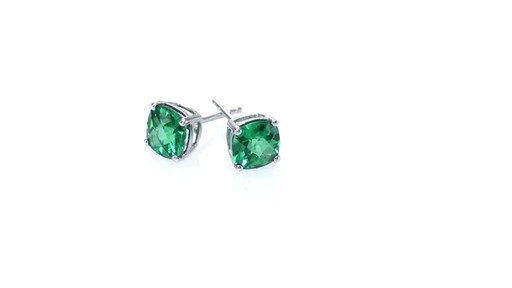 fb1cee2e0 Cushion-Cut Lab-Created Emerald Stud Earrings in 10K White Gold ZALES 6.0mm