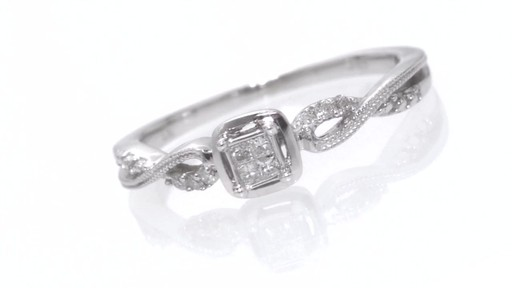 Princess Cut Quad Diamond Promise Ring In Sterling Silver