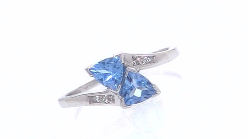 Trillion Cut Blue Topaz Bypass Ring In 10k White Gold With
