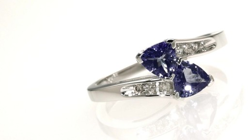Trillion Cut Tanzanite And Diamond Accent Bypass Ring In