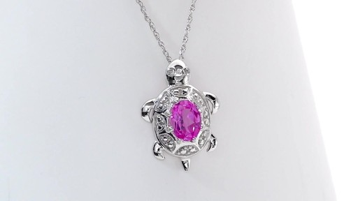 Oval Lab Created Pink Sapphire And Diamond Accent Turtle