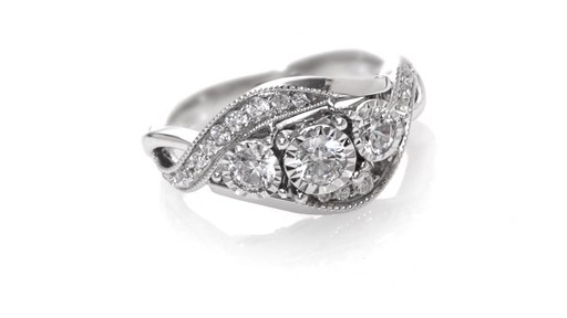 Diamond Past Present Future Vintage Style Swirl Engagement Ring in 10K White