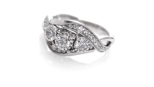 Diamond Past Present Future Vintage Style Swirl Engagement