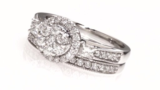 d359ba06032a50 Round and Princess-Cut Diamond Flower Bridal Set in 10K White Gold 1 - image