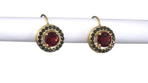 Garnet And Black Spinel Frame Drop Earrings In Sterling
