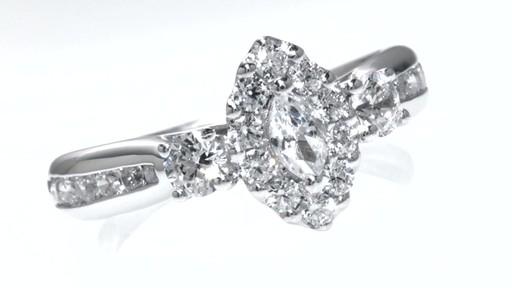 Marquise Diamond Past Present Future Ring In 14k White