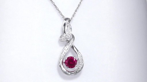 Zales 8.0mm Heart-Shaped Lab-Created Ruby and Diamond Accent Bow Necklace in Sterling Silver BsI6i2788