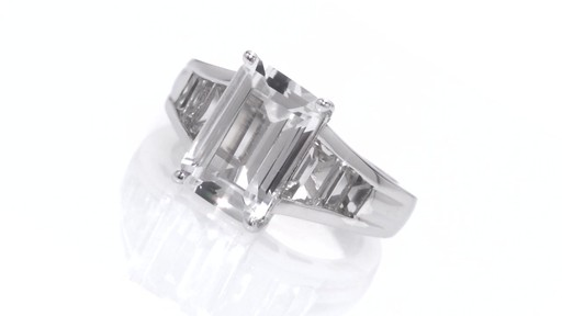 Emerald Cut Lab Created White Sapphire Ring In Sterling
