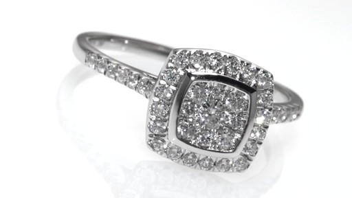 composite diamond cushion frame engagement ring in 10k. Black Bedroom Furniture Sets. Home Design Ideas