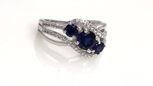 ZALES Lab Created Blue and White Sapphire Three Stone Bypass Ring in Sterling