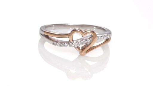 ZALES Diamond Accent Heart Swirl Ring in Sterling Silver and 10K Rose Gold W
