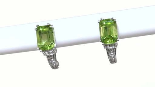 ZALES Emerald-Cut Peridot and Diamond Accent Drop Earrings in 10K White Gold, Women's, Size: regular - image 10 from the video