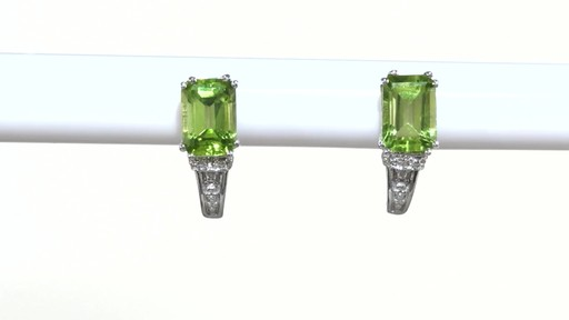 ZALES Emerald-Cut Peridot and Diamond Accent Drop Earrings in 10K White Gold, Women's, Size: regular - image 7 from the video